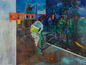 Marie-Anita Gaube, L'échappée belle, 2015, Huile sur toile, 146x114cm, courtesy of the artist et Progress Gallery