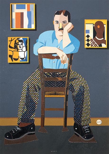 Eduardo Arroyo - Fernand Léger - 2007 - huile sur toile - 195 x 130 cm - ©Adagp, Paris, 2019 / photo Galerie Louis Carré & Cie