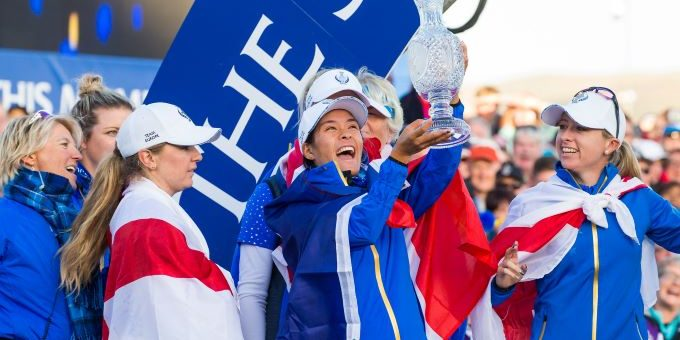 Celine Boutier of France with the trophy